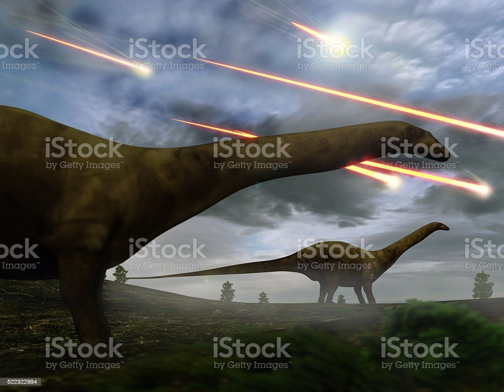 Extinction Of The Dinosaurs Meteor Shower stock photo