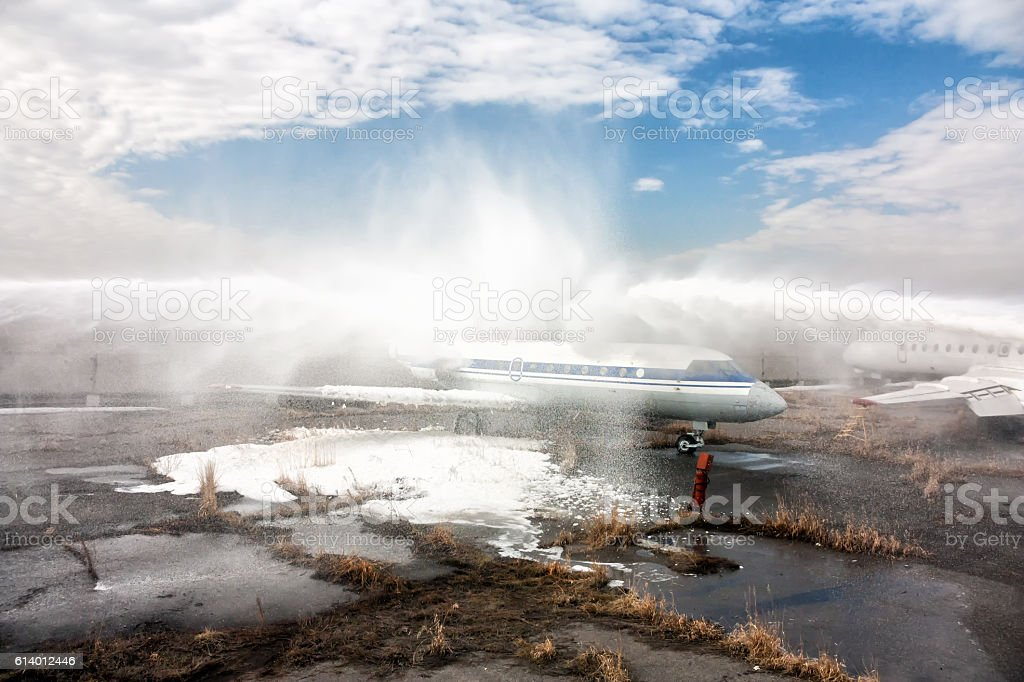 Extinguishing airplanes royalty-free stock photo