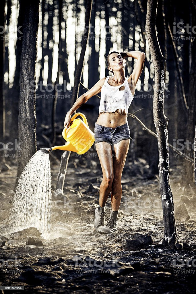 extinguishing the fire stock photo