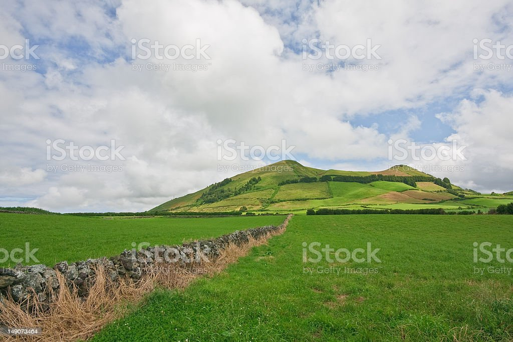 Extinted volcano in Sao Miguel Island Landscape,  Azores, Portugal stock photo