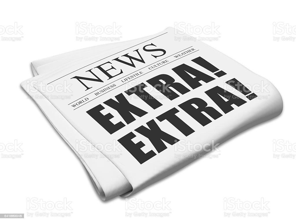 Extra newspaper headlines stock photo