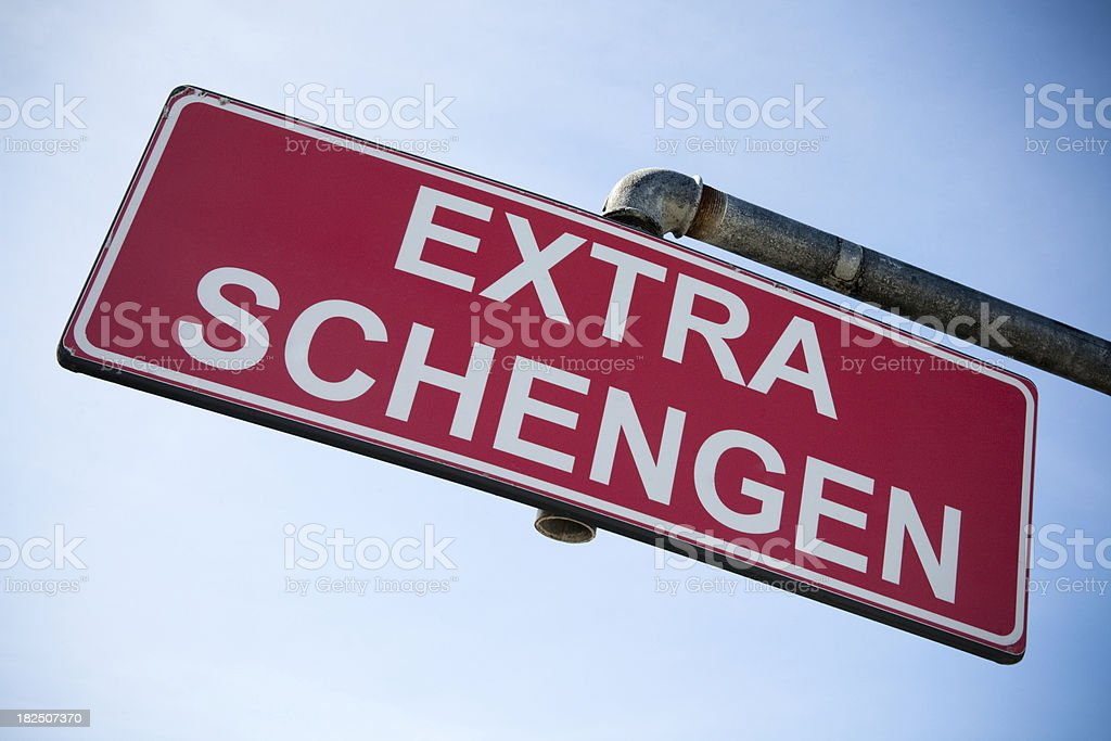 Extra schengen signboard stock photo