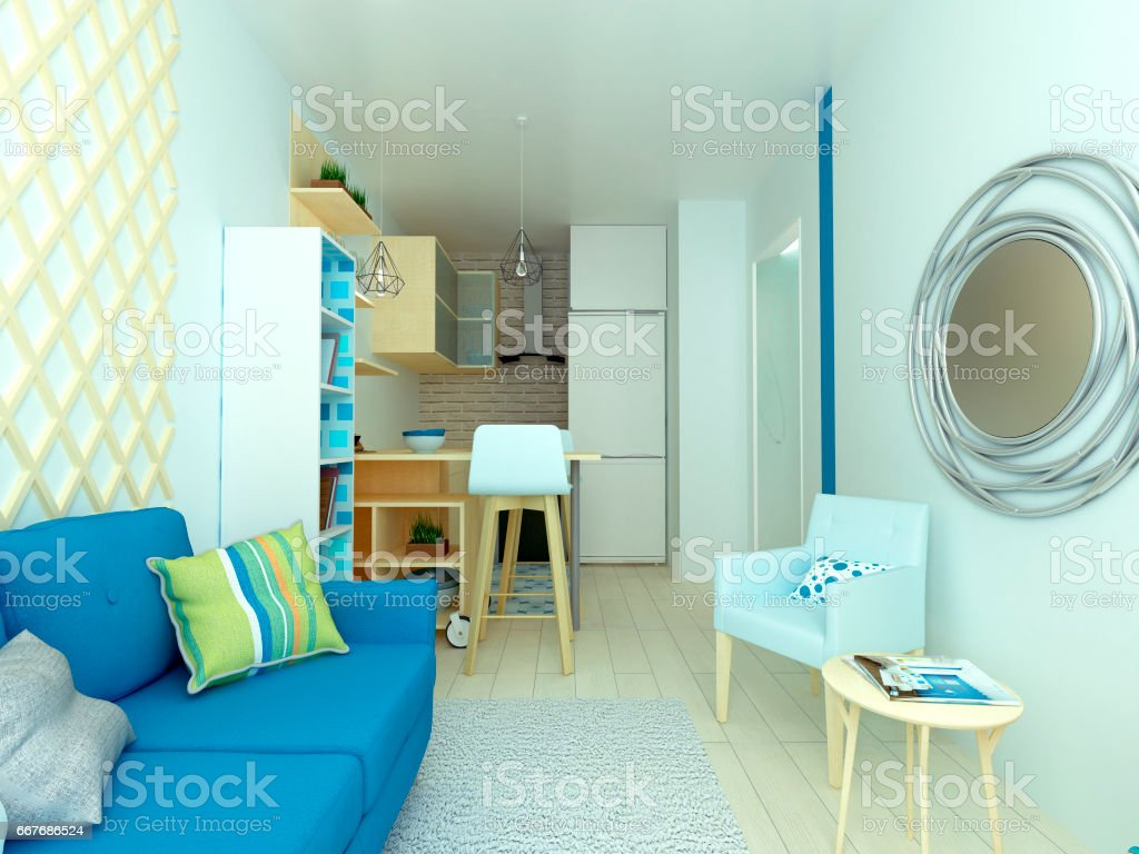 extra small studio flat, smart, kitchen, illustration stock photo