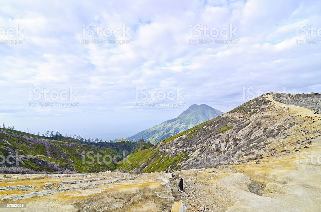 Extracting sulphur inside Kawah Ijen crater, Indonesia royalty-free stock photo