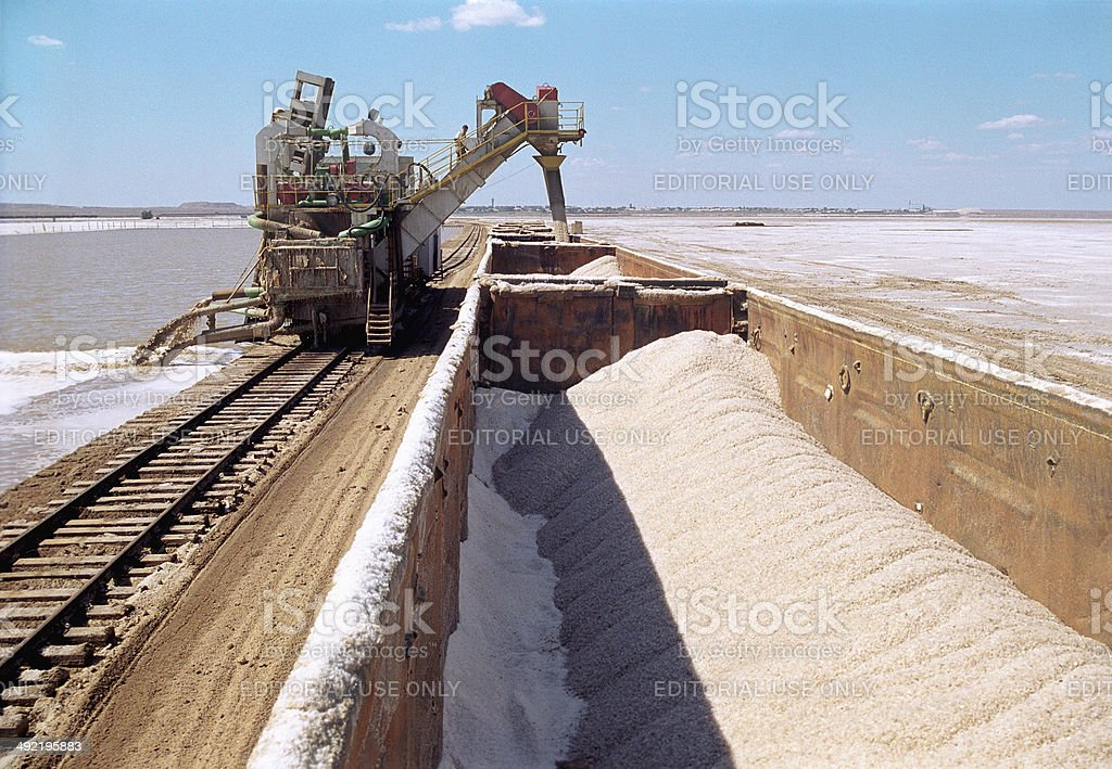 Extraction of salt (NaCl) on the lake Baskunchak. royalty-free stock photo