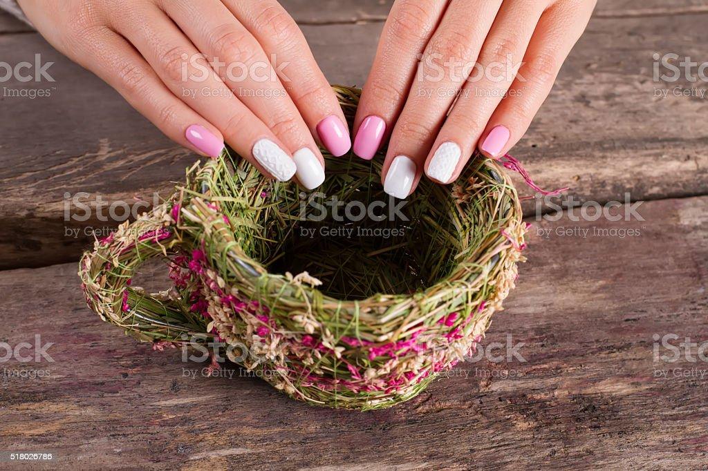 Extraordinary spring manicure. stock photo