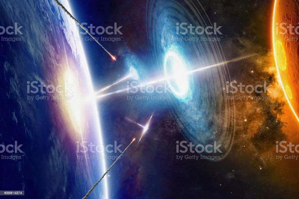 Extraterrestrial aliens spaceships hits planet Earth stock photo