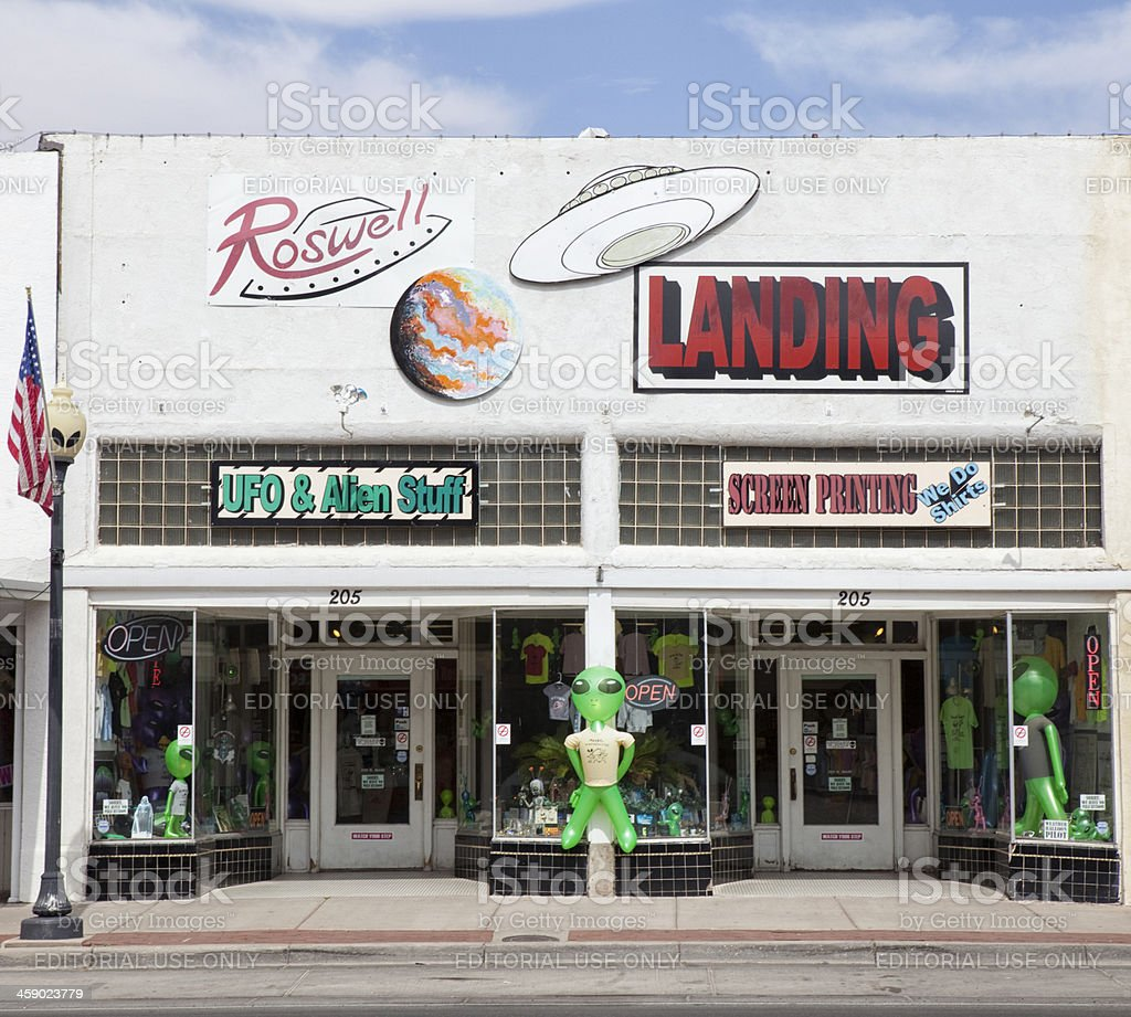 Extraterrestrial Souvenir Shops in Roswell, New Mexico stock photo