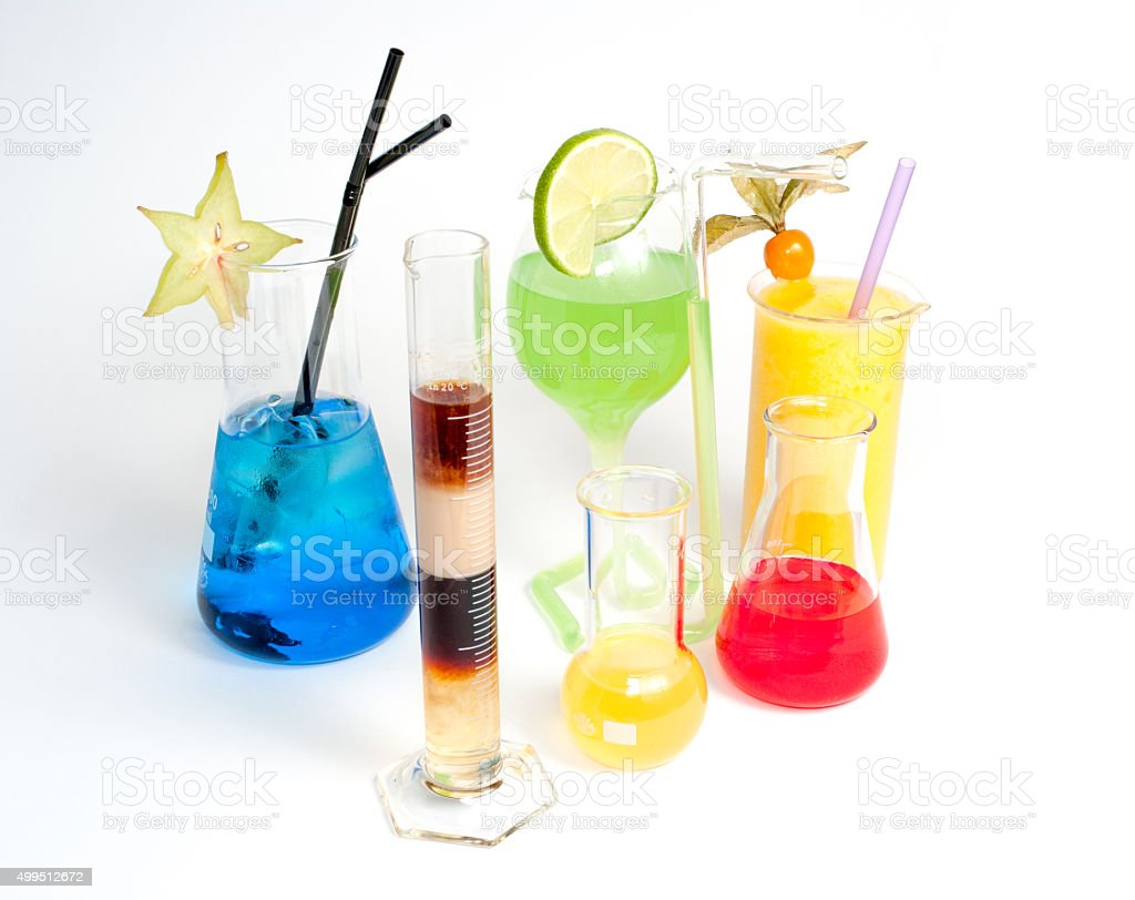 extravagant, colorful beverages in fancy glasses stock photo