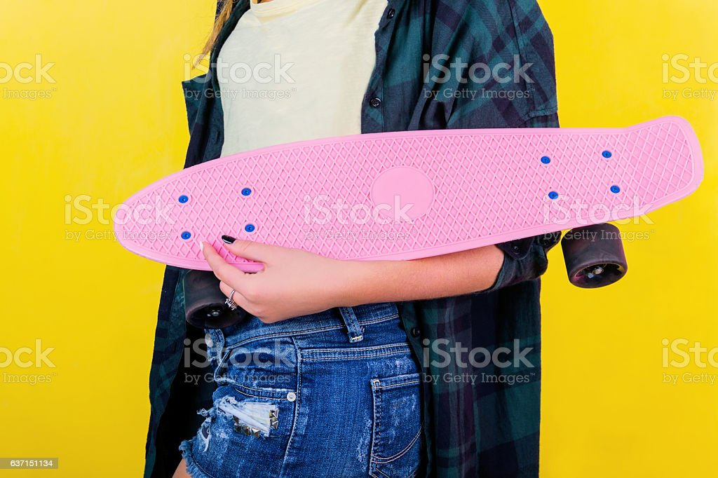 Extrem girl with skateboard stock photo