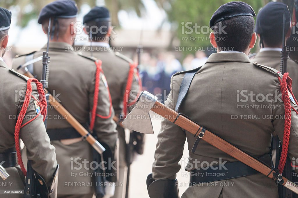 XI Extremadura Brigade, Axes on back stock photo