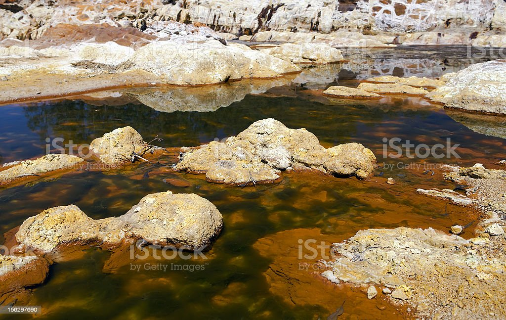 extreme acidic river Tinto in Niebla, Spain royalty-free stock photo