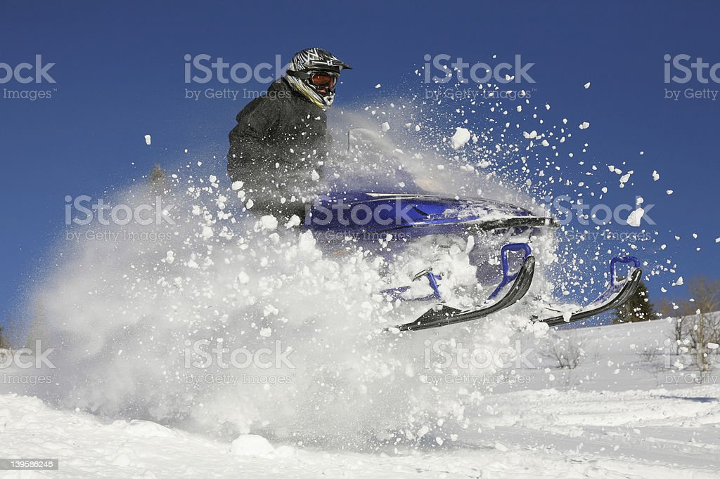 extreme action snowmobile royalty-free stock photo