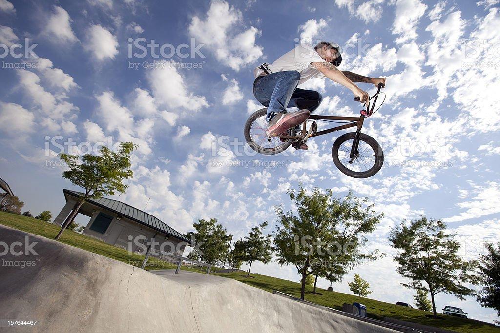 BMX Extreme Bike Rider royalty-free stock photo