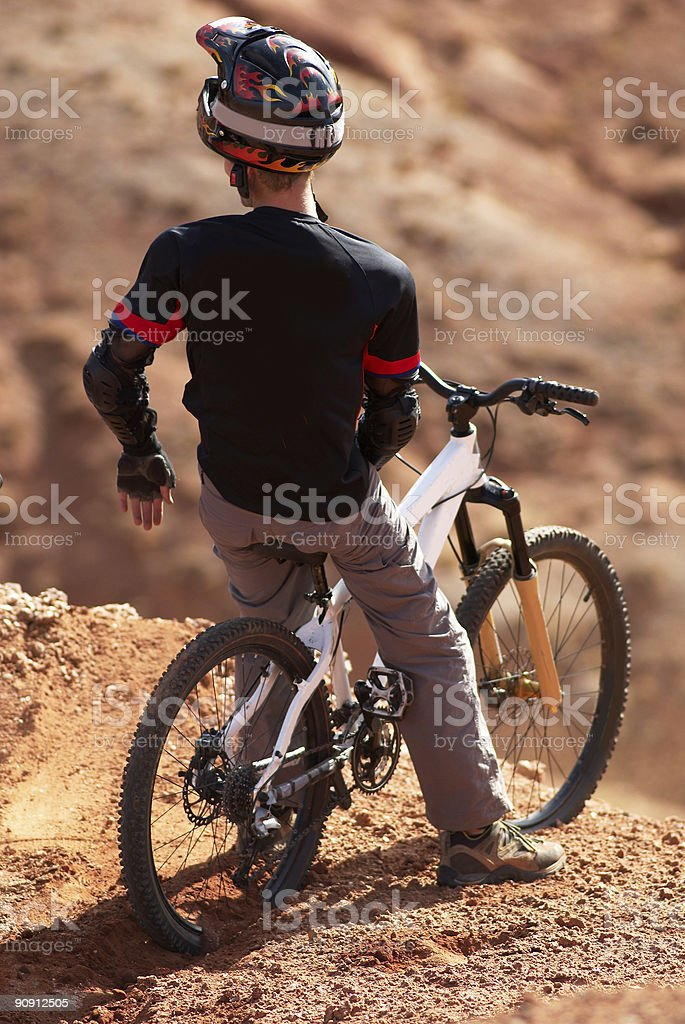 Extreme biker on breakaway royalty-free stock photo