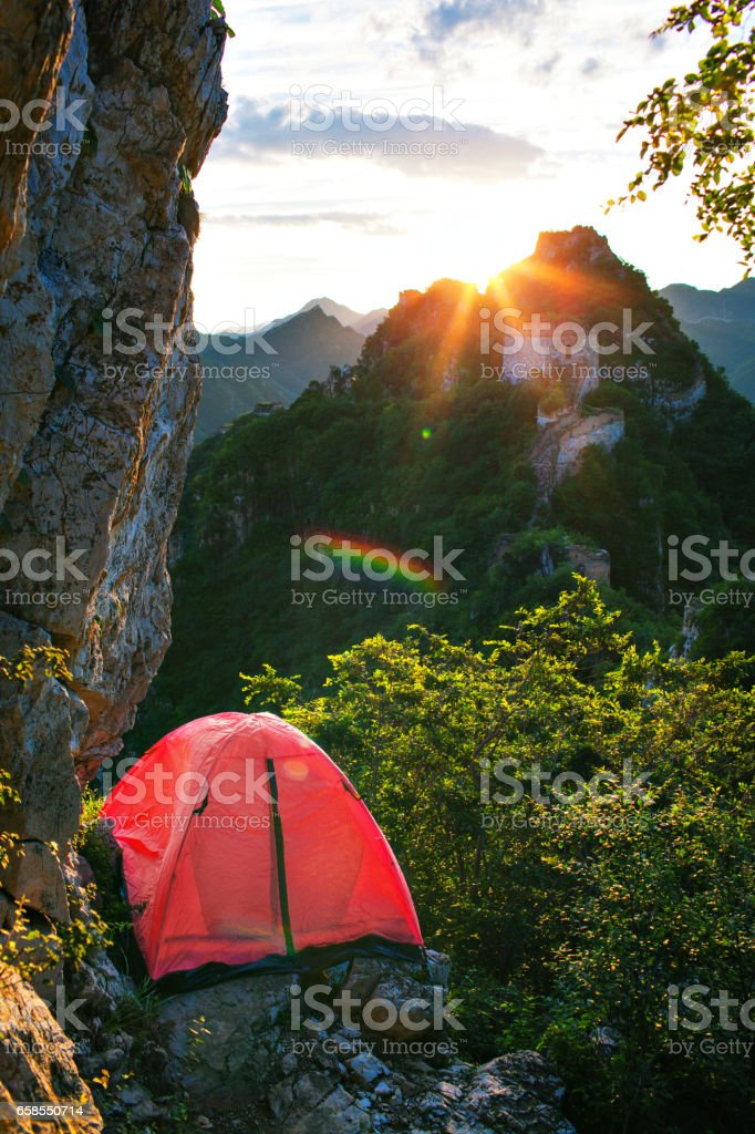 Extreme camping stock photo