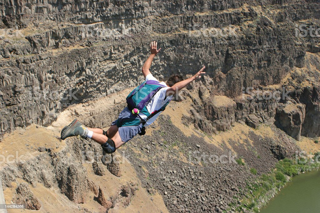 Extreme Canyon BASE Jumper stock photo