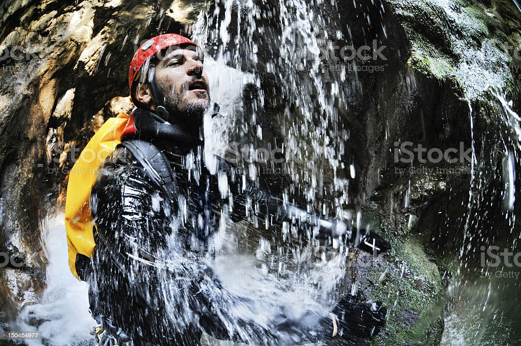 Extreme canyoning stock photo