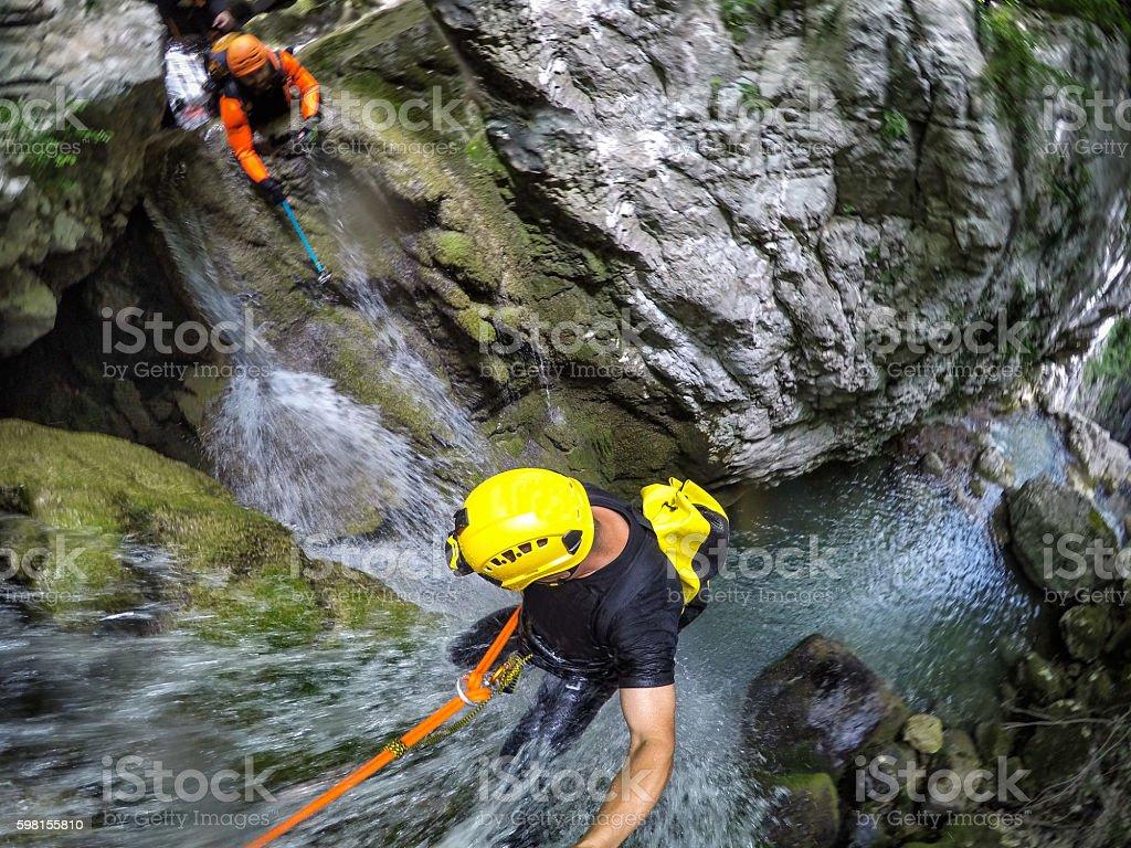 Extreme Canyoning stock photo
