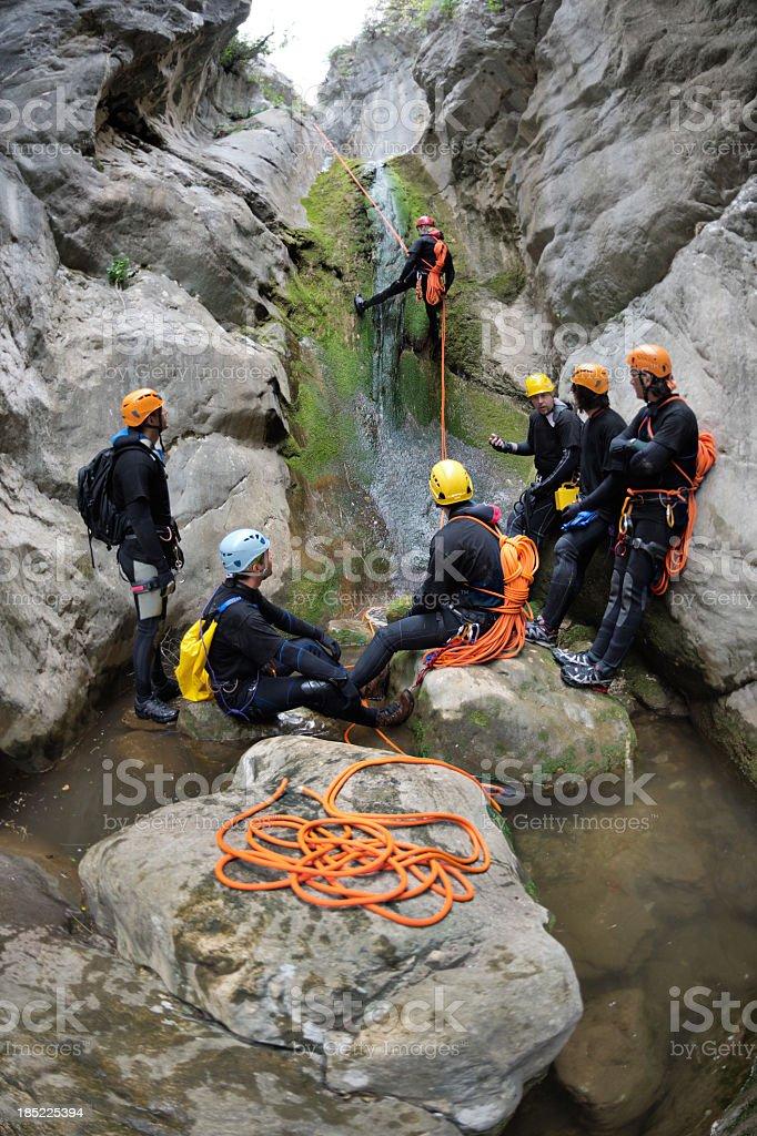 Extreme Canyoning Team stock photo