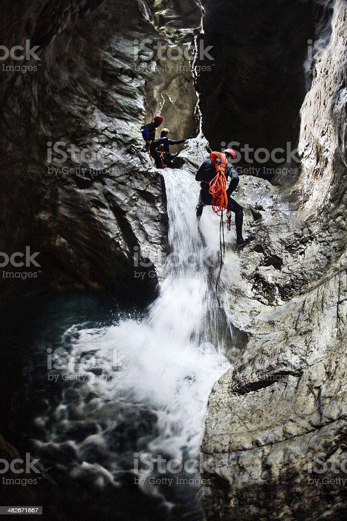 Extreme Canyoning Team royalty-free stock photo