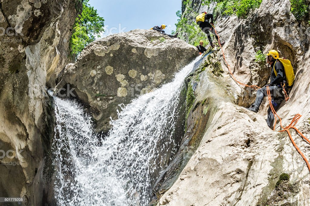 Extreme Canyoning Team stock photo