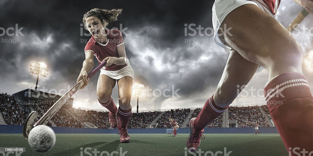Extreme Close Up Field Hockey Action stock photo