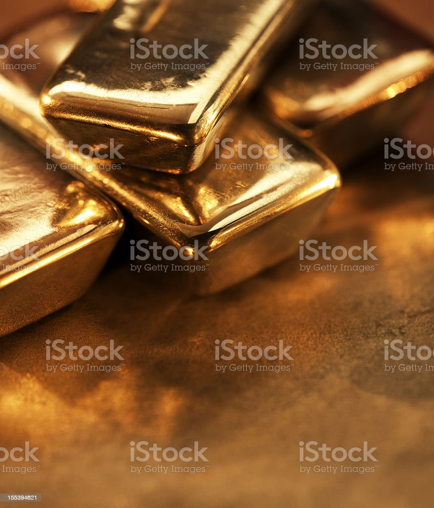 Extreme close up of gold ingots.jpg stock photo