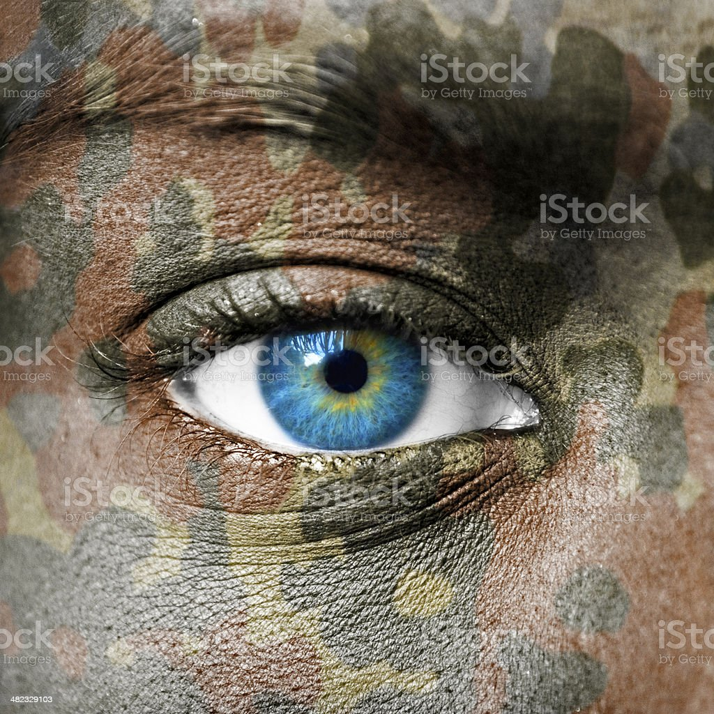 Extreme close up of soldiers eye stock photo