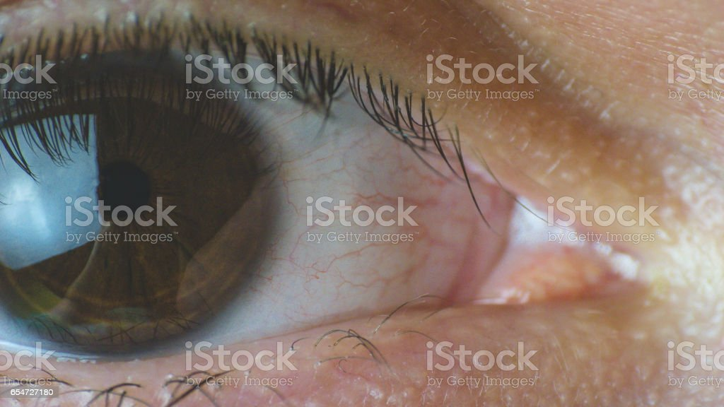 Extreme close up on human eye stock photo