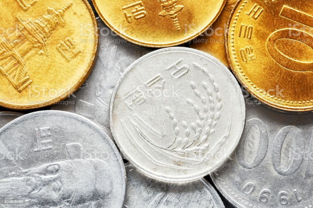 Extreme close up picture of South Korean won coins. stock photo