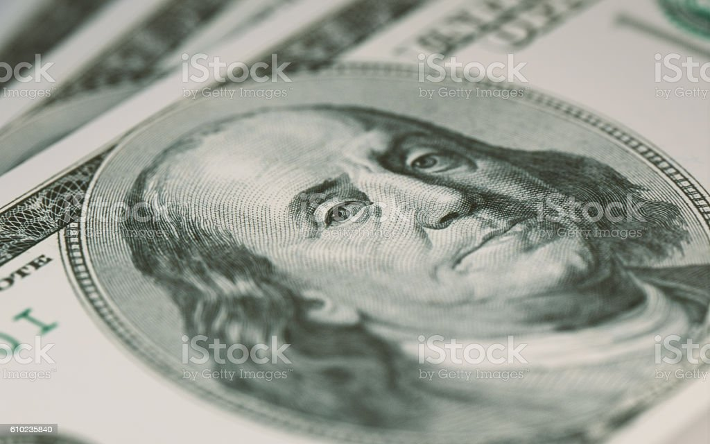 Extreme Close Up Shot of American Dollar stock photo