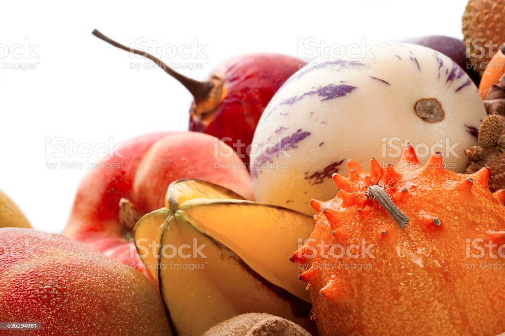 extreme close up shot of different tropical fruits stock photo
