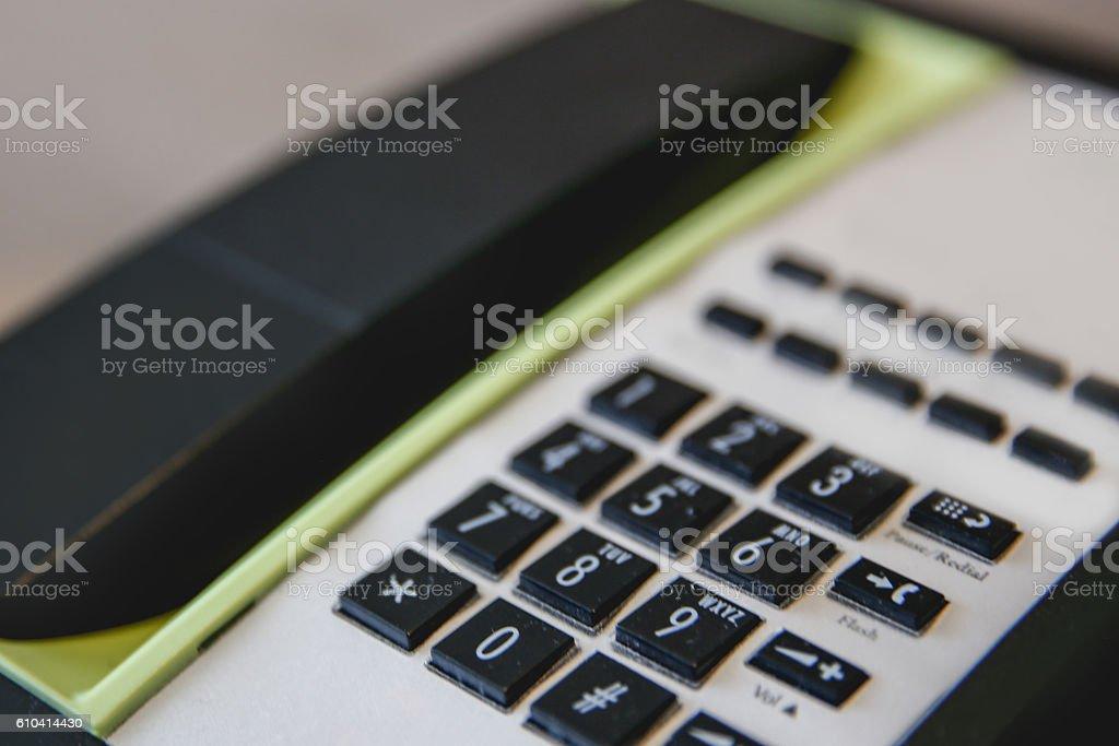 Extreme close up telephone stock photo