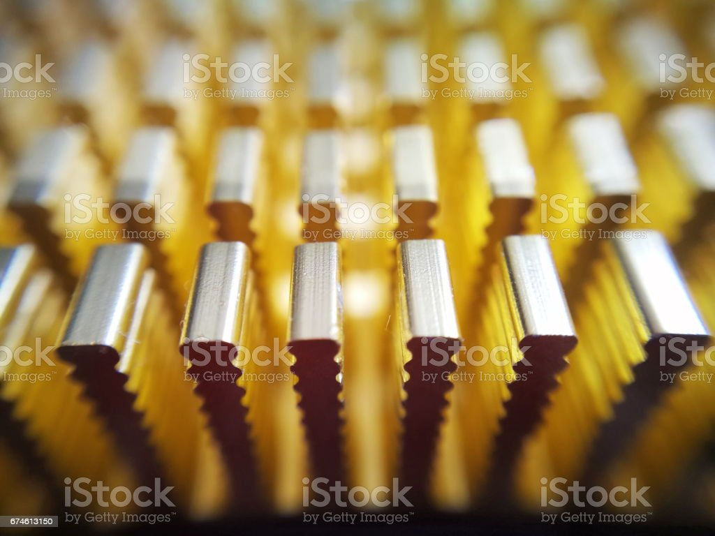 Extreme close up view of graphic crd passive cooler stock photo