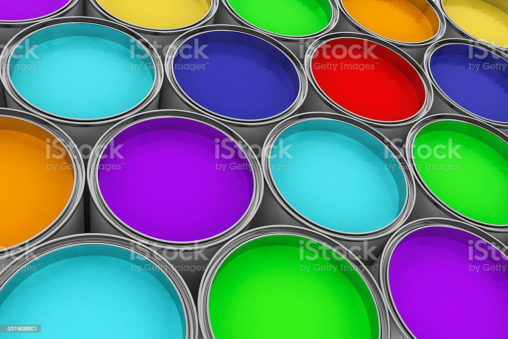 Extreme closeup colorful paint cans stock photo
