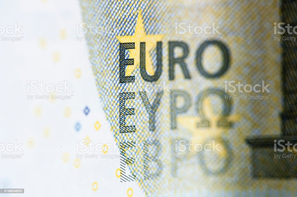 Extreme closeup of 5 European Euro note stock photo