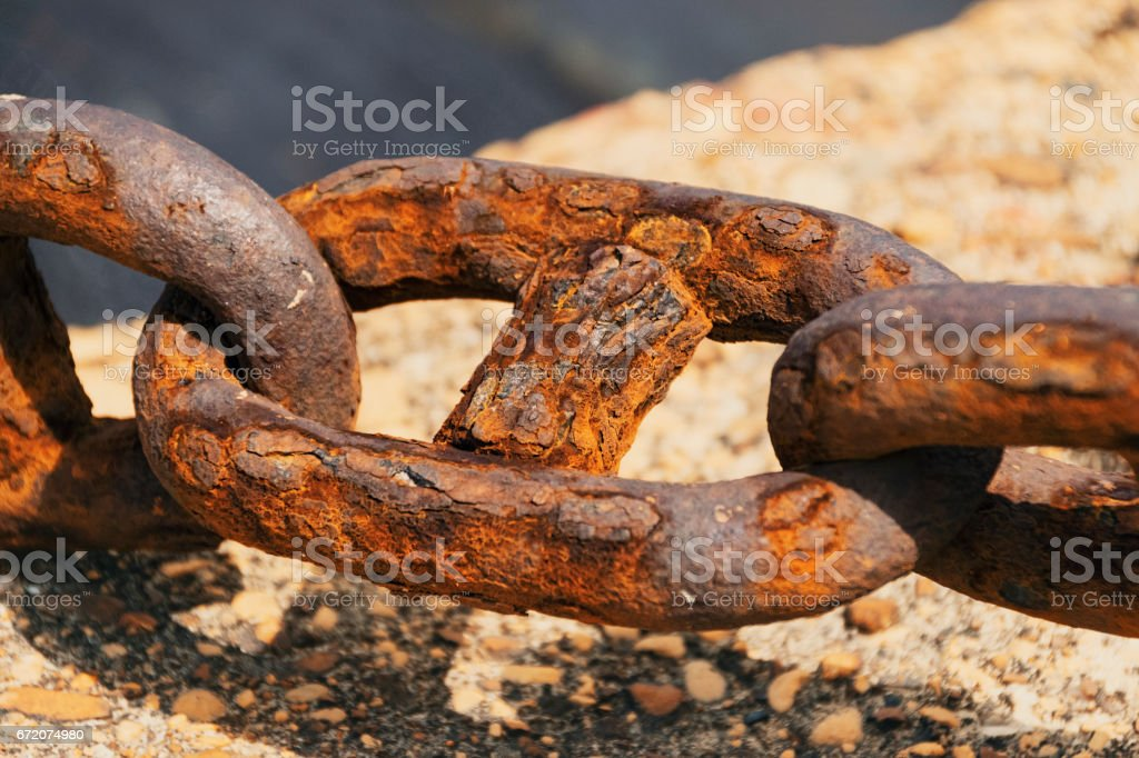 Extreme Close-Up Of Rusty Chain In Greek Port stock photo