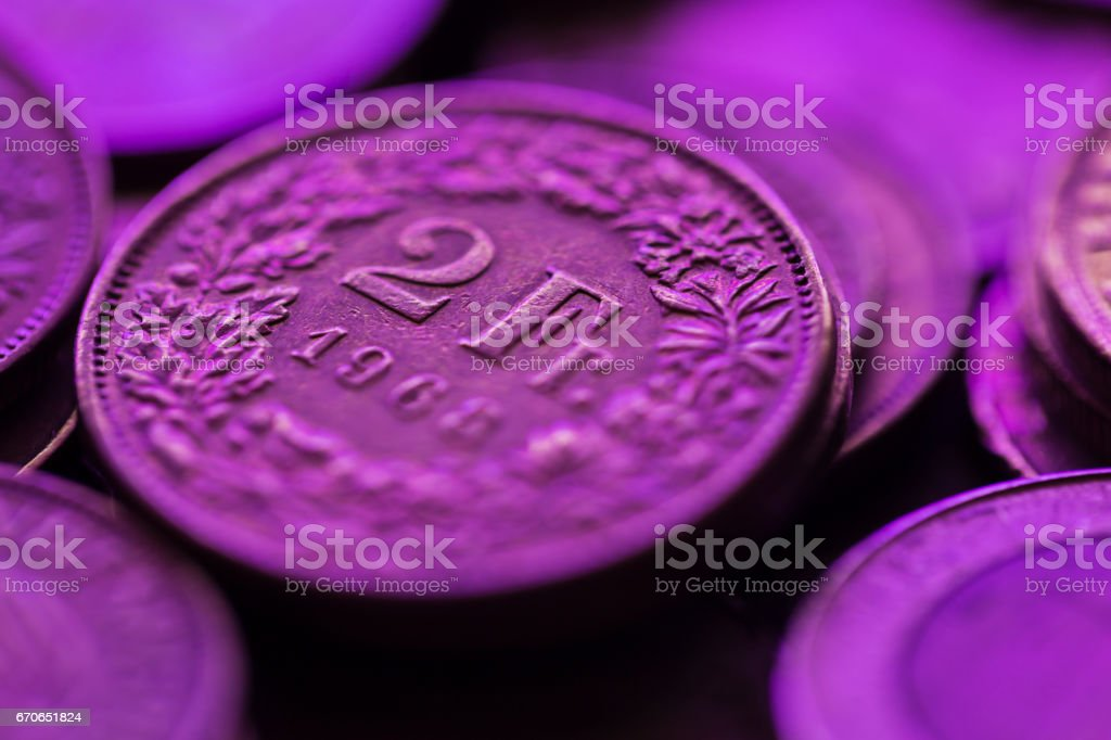 Extreme Close-Up of Swiss Coin stock photo