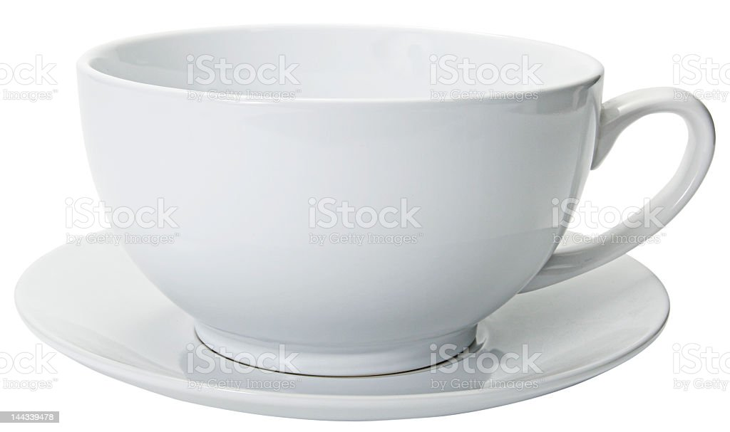 Extreme close-up of white coffee cup on white background royalty-free stock photo
