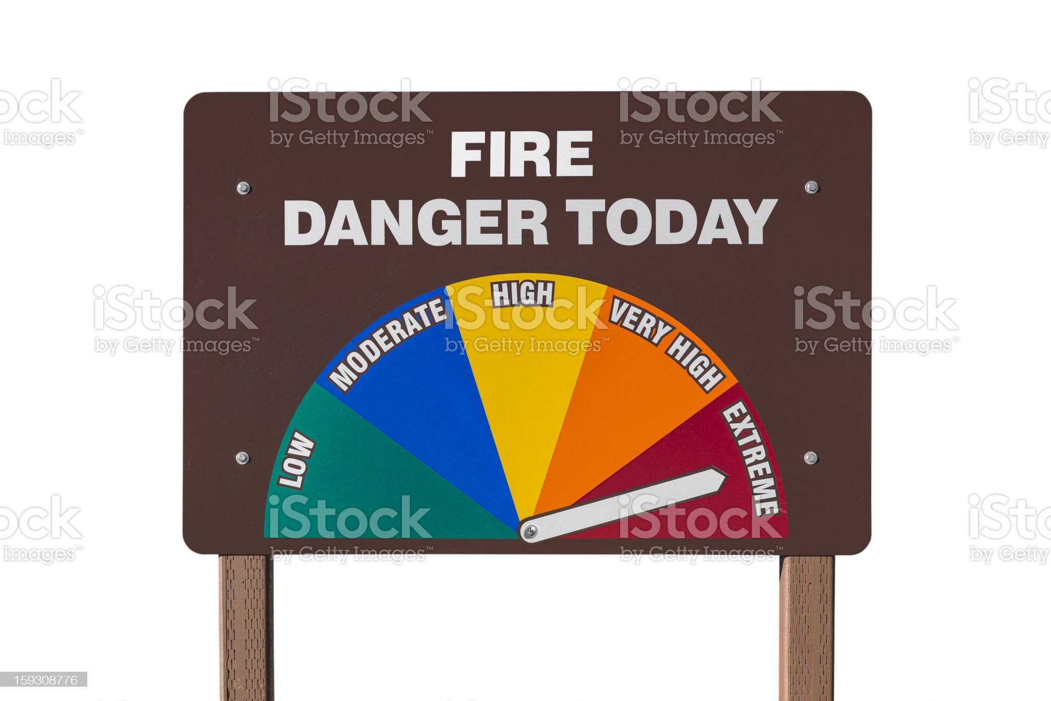 Extreme Fire Danger Today Sign Isolated royalty-free stock photo