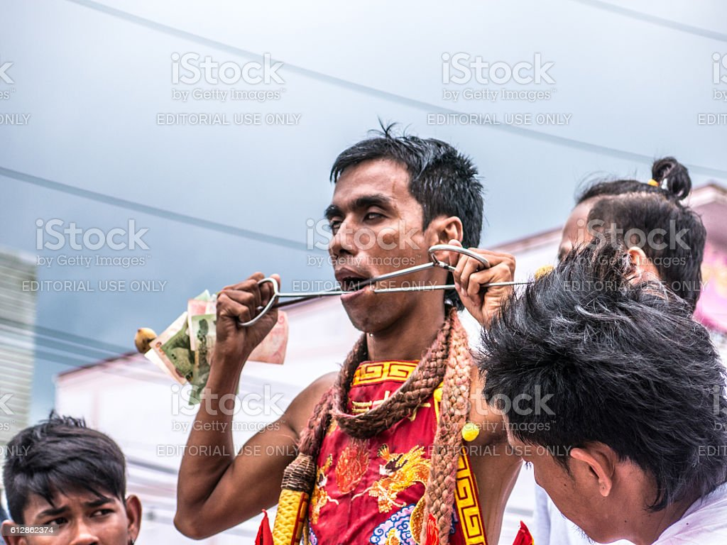 Extreme Food Festival Vegetarian Thailand Man Piercing stock photo