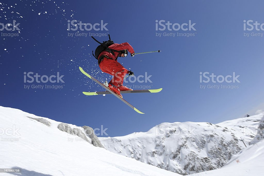 Extreme free ride skier in mid air stock photo