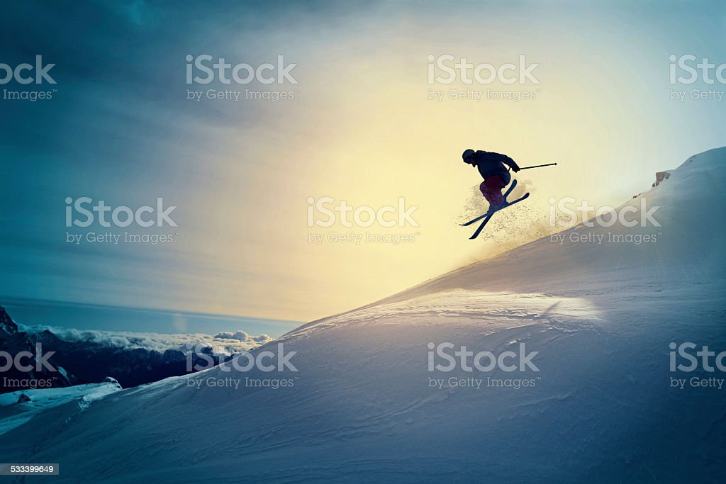 Extreme   Freestyle snow skier  jumping   Off pist  back country skiing stock photo