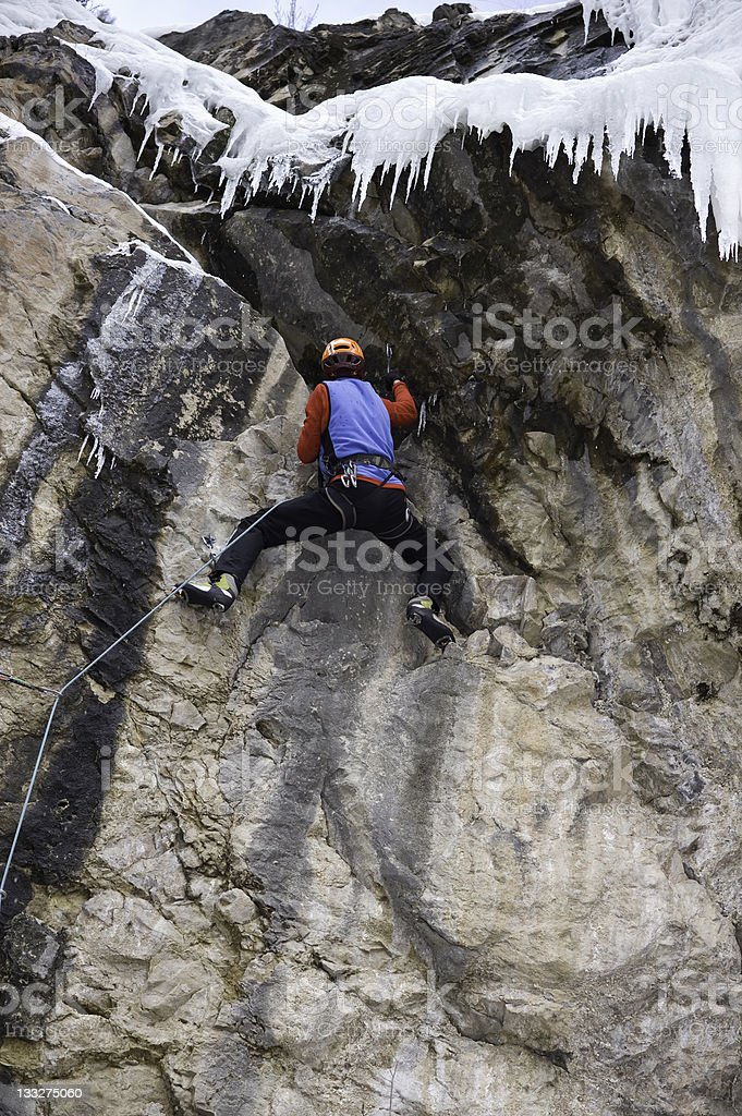 Extreme Ice Climber Mixed Climbing royalty-free stock photo
