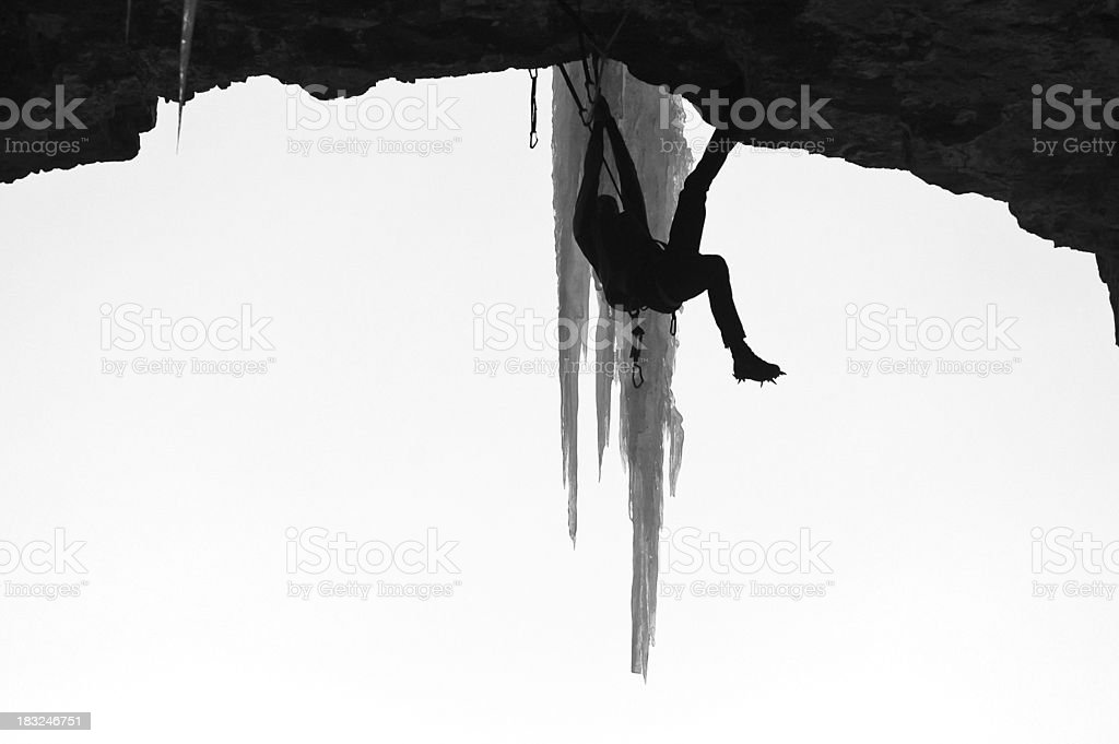 Extreme Ice Climbing in Black and White royalty-free stock photo
