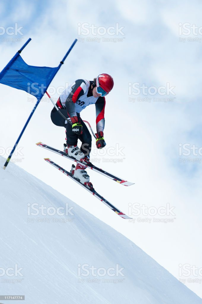 Extreme jump at downhill race royalty-free stock photo