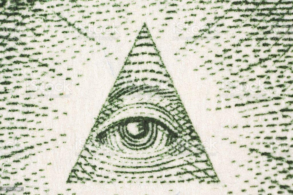 Extreme Macro One Dollar Bill Pyramid Eye stock photo