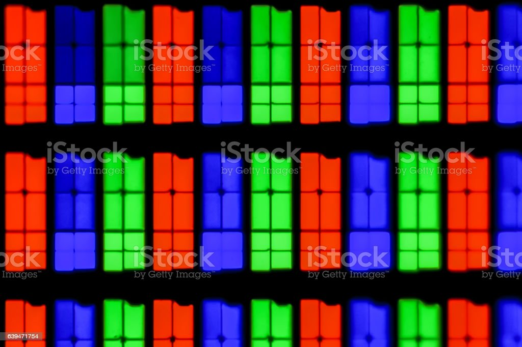 Extreme magnification - RGB, IPS screen at 20x stock photo