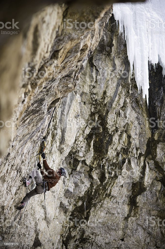 Extreme Mixed Ice Climber Climbing High royalty-free stock photo